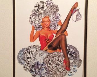 Pin-up and Diamonds collage print