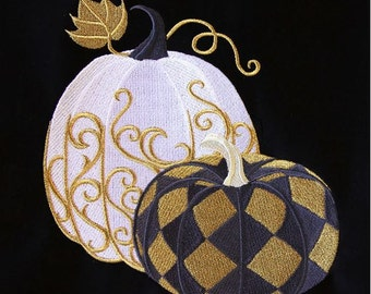 Harlequin Pumpkins Embroidered Towel - Made to Order