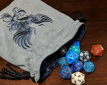 Large Embroidered Lined Baroque Phoenix Dice Bag - Ready to Ship