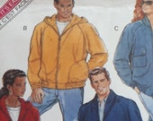 Size XS, S, M Chest 30 quot -40 quot Men, Women 39 s Lightweight Bomber Jacket Butterick 5811 Hood, Pockets, Zip Easy Vintage 1991 Sewing Pattern