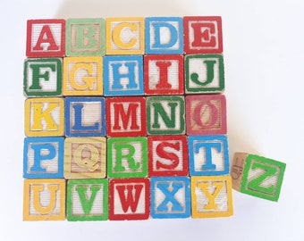 """Complete Alphabet Block Set, 26 Letters from A to Z: 1 1/4"""" Standard Size 