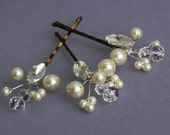 Sale 25% off  Bridal pins Wedding hairpiece, bridesmaids, bobby pins, Swarovski  pearls, crystal, hair accessories, Rhinestone