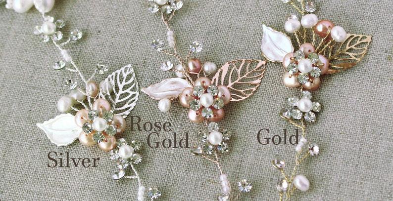 Rose gold Bridal hair vine Wedding hair accessories Bridal hair piece BLUSH Wedding hair piece Wedding hair piece Freshwater pearls crystals