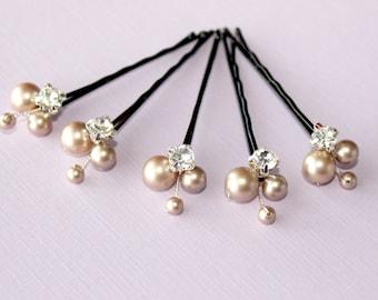 Champagne Hair pins Bridal pins Wedding hair accessories Bridal hairpiece Flower girl hair piece Bridesmaids bobby pins Swarovski pearls