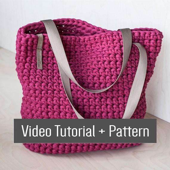 Zipper Tote Crochet Chunky Yarn Video Tutorial And Pattern Etsy