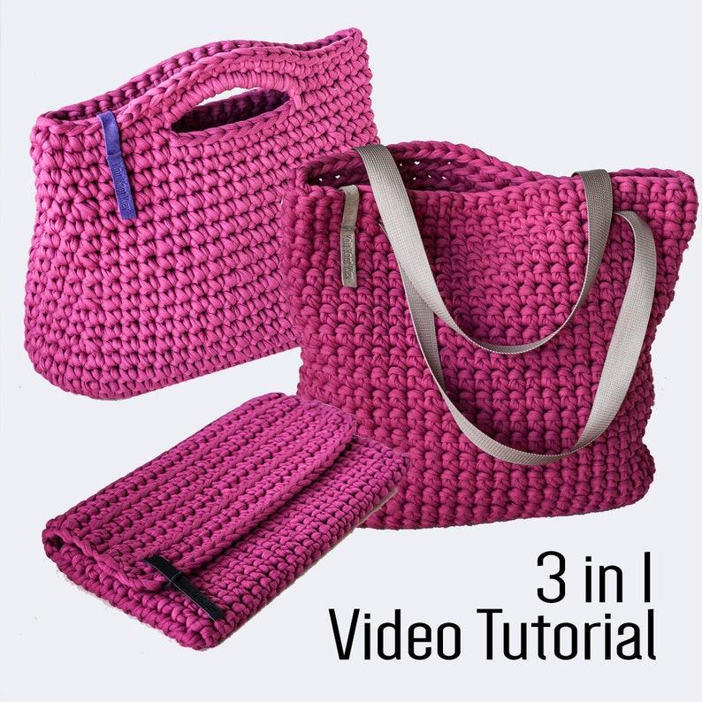 fa017670330 Crochet Chunky Yarn Video Tutorial   Pattern 3 in 1  Handbag