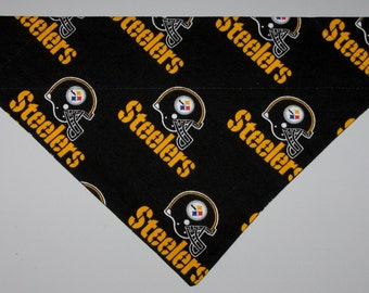 111deb360 NFL Pittsburgh Steelers Dog Bandana Scarf – Double Sided   Slide over  Collar – Size Small