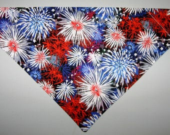 4th of July Red, White & Blue Fireworks Dog Bandana Scarf-Double Sided/Slide over Collar-Size Small, Medium, Large, X-Large