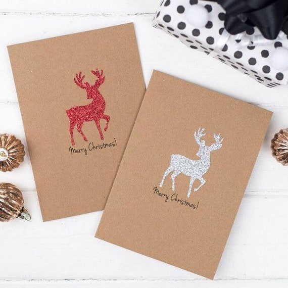 Reindeer Christmas Cards To Make.Glitter Reindeer Multipack Christmas Card Set Of 5 Holiday Cards Handmade Card Set Personalised Cards Simple Christmas Card
