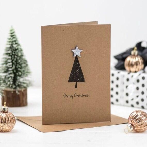 Etsy Christmas Cards.Christmas Tree Card Handmade Christmas Cards Kraft Cards Holiday Cards Gold Star Cards Merry Christmas Country Christmas