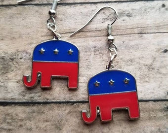 6370dc834ad03 Republican Earrings Elephant Earrings Political Gifts Statement Earrings  Gifts for Her Patriotic Jewelry Patriotic Earrings Boho Earrings