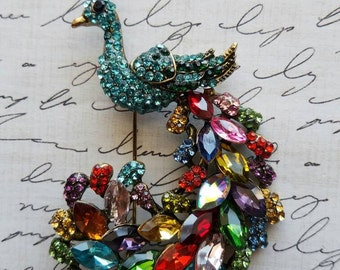 06c57490033 Colorful Brooch Fancy Rainbow Peacock Brooch Gifts for Her Statement  Brooches Beautiful Brooches Large Brooch Swarovski Crystal Clothes Pin