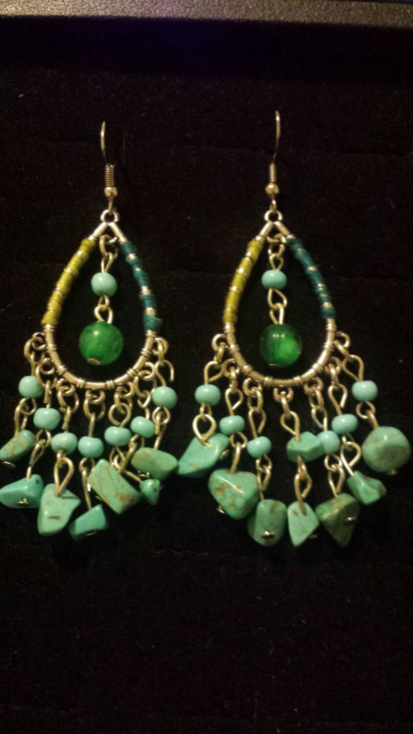 Western Theme Turquoise Gems Dangle Earrings Chandelier Earrings Silver Dangle Earrings
