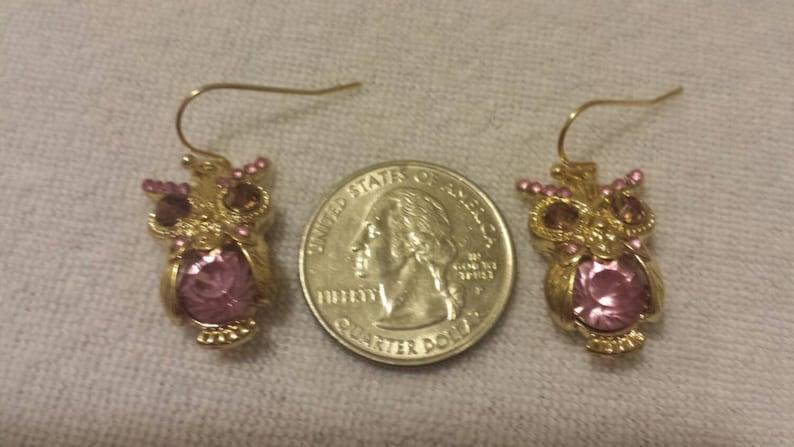 Color Owl Earrings Dangle Earrings Small Owl Earrings Purple Earrings Birthstone Earrings Crystal Owl Earrings Gold Owl Dangle Earrings