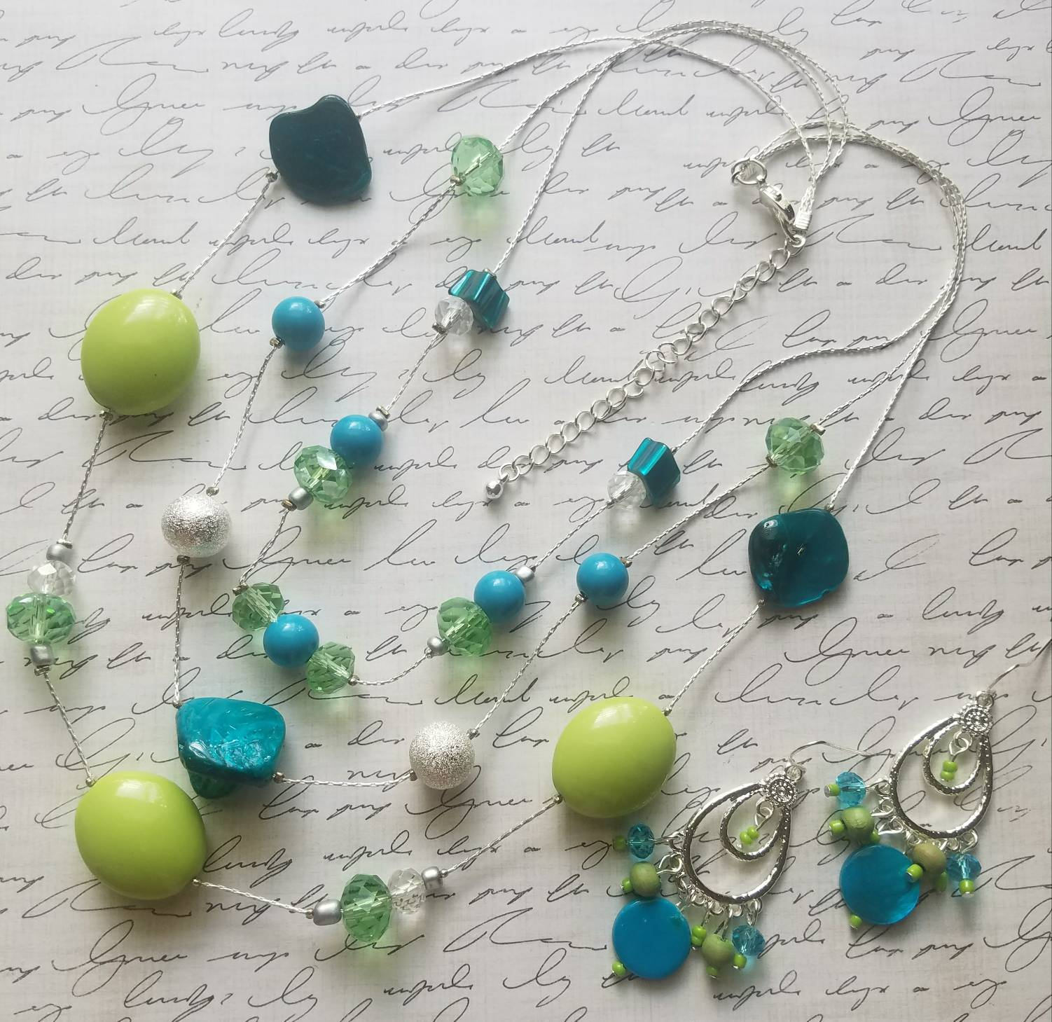 Multi 3 Layered Silver Necklace Blue and Green Layered Statement Necklace Set with Matching Earrings Layered Silver Necklace Set