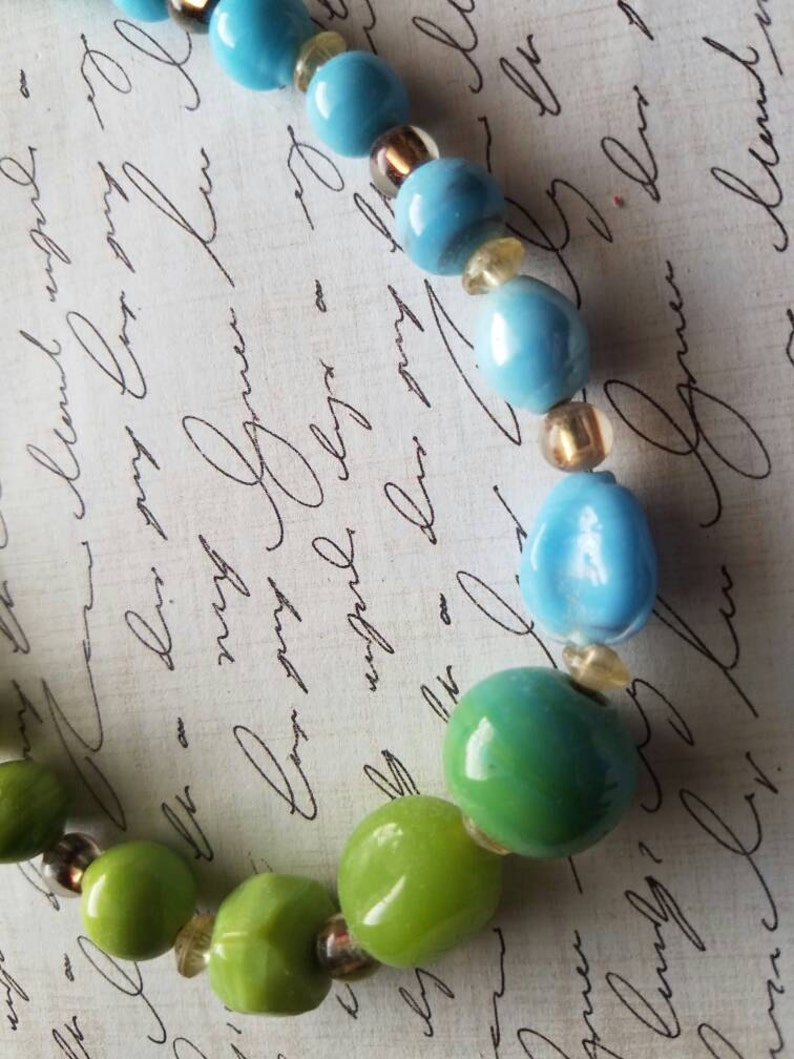 The Bluegrass State Necklace Set Blue and Green Necklace Set Gifts for Her Statement Necklace Handmade Necklace Small Dangle Earrings SALE