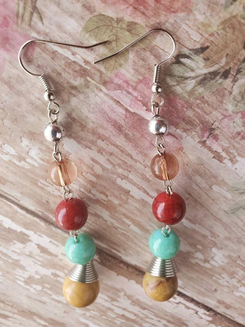 Bohemian Earrings Long Earrings Statement Earrings Gifts for Her Mixed Bead Earrings Wire Wrapped Agate Earrings Handmade Chakra Earrings