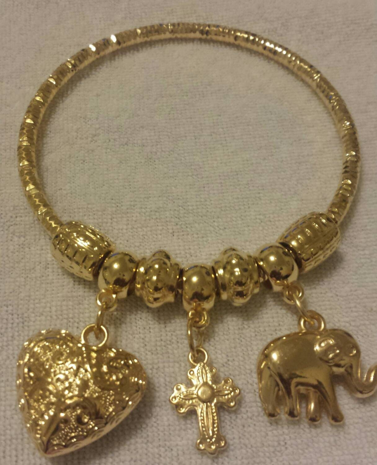 Gold Bangle Bracelet Charm Bracelet Dangle Charm Bracelets Elephant Bracelet Cross Bracelet Heart Bracelet Gold Charms Gifts for Her