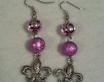 Pink Fleur De Lis Dangle Earrings Gifts for Her Statement Earrings Handmade Earrings Silver Dangle Earrings