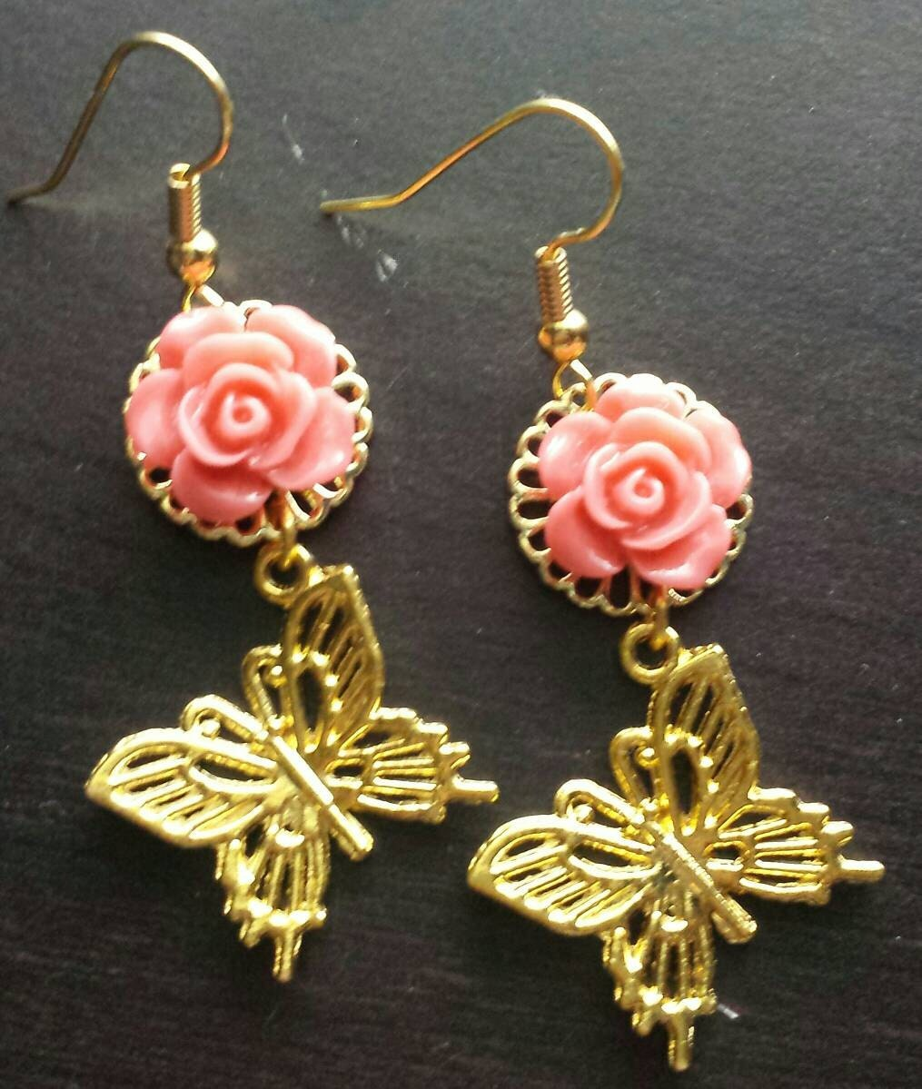Gold Dangle Butterfly Earrings Pink Rose and Butterfly Dangle Earrings Gold Earrings for Girls Gifts for Her Rose Earrings (SALE)