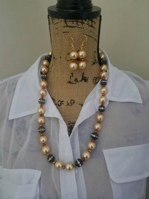 9aaa3d524b Fancy Fall Pearl Necklace Set Pearl Dangle Earrings Long Pearl | Etsy
