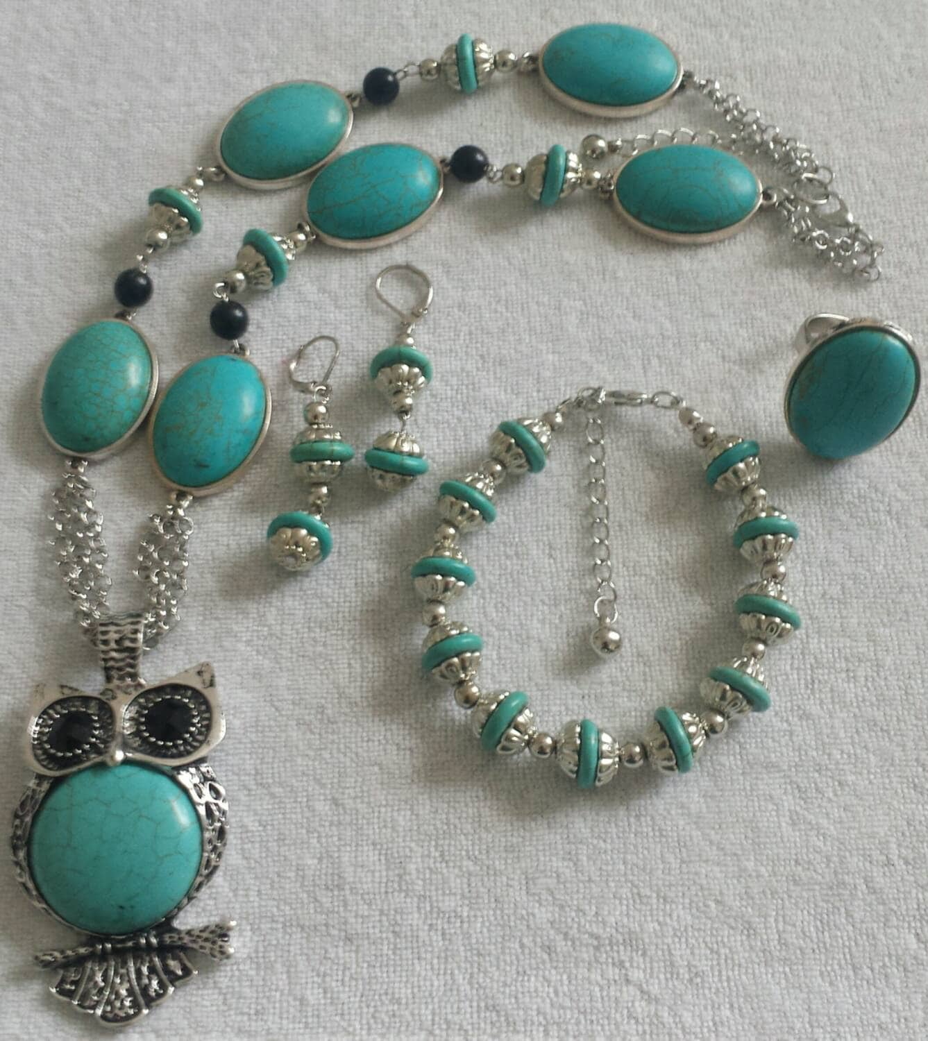 Turquoise Stones Owl Necklace Set Silver Owl Necklace with Matching Bracelet Ring and Earrings Large Ring Dangle Earrings Turquoise Bracelet