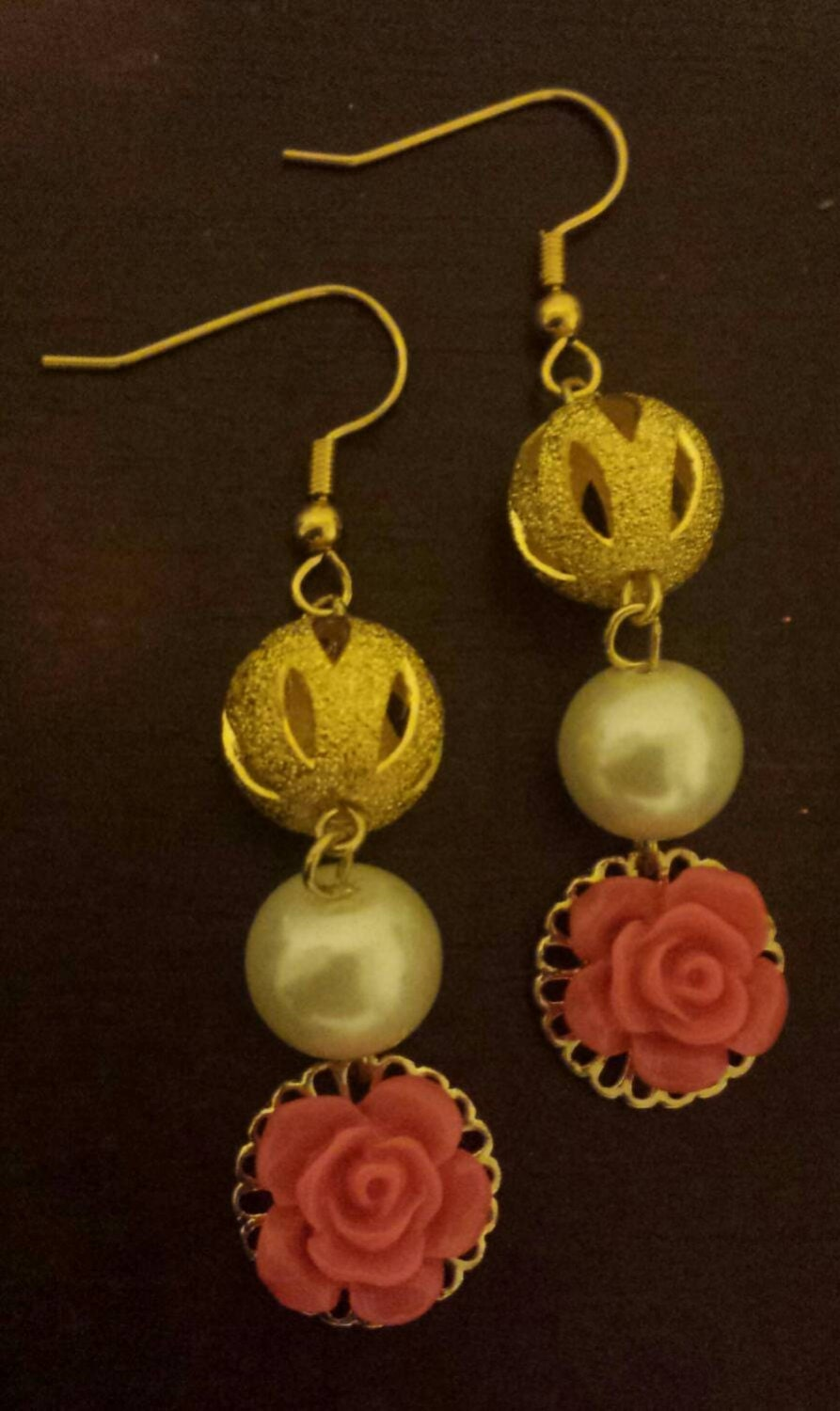 Dangle Gold Earrings Rose Dangle Earrings Pearl Dangle Earrings Bridal Dangle Earrings Bridal Party Earrings Gifts for Her