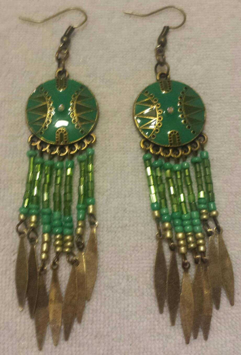 Green and Bronze Fringe Dangle Earrings Trible Earrings Handmade Earrings Gifts for Her Indian Inspired Earrings Fashion Dangle Earrings
