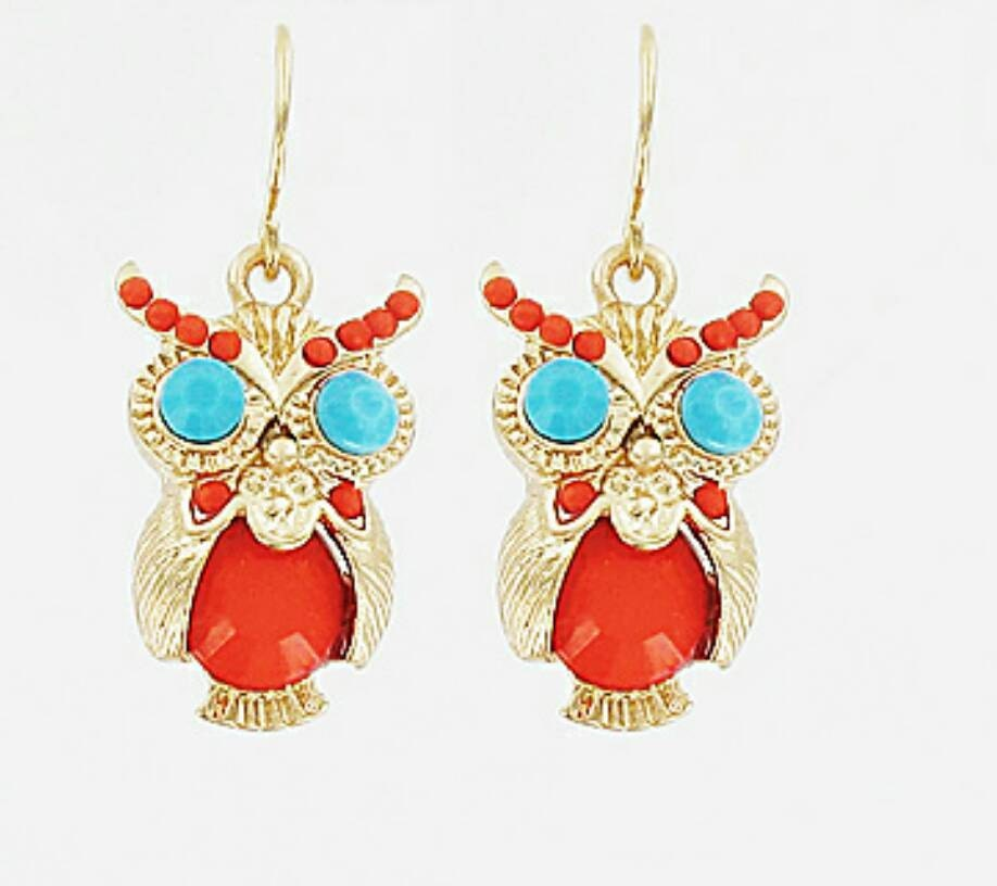 Color Owl Earrings Dangle Earrings Small Owl Earrings Orange Owl Earrings Turquoise Eyes Owl Earrings Gold Owl Dangle Earrings