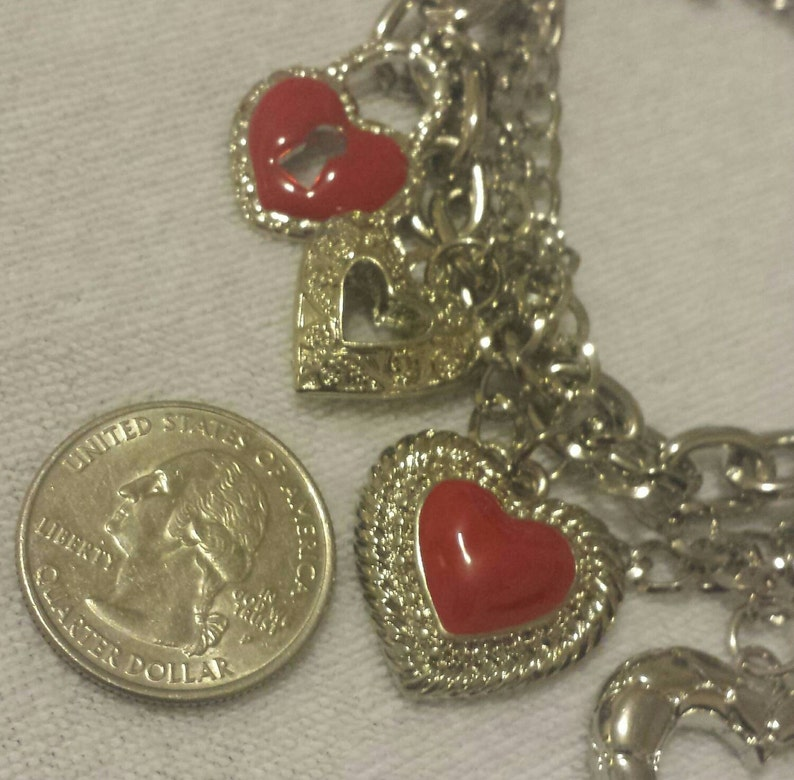 6becd324a5f60 Silver Hearts Charm Bracelet Dangle Charm Bracelets Red Hearts Bracelet  Multi Chain Bracelet Gifts for Her Valentine's Jewelry