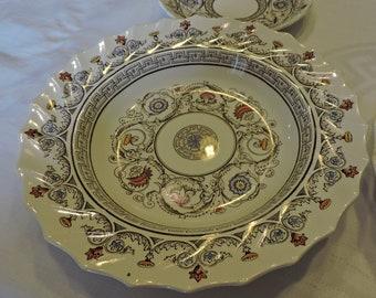 "c1940s Vintage COPELAND SPODE England FLORENCE Pattern #8411 8"" Rim Soup Bowl"