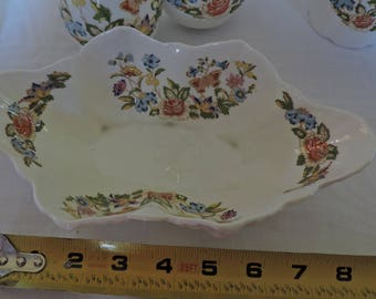 Aynsley Cottage Garden Bowl Butterflies Pastel Flowers Bone China Footed Shells
