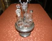 Vintage Condiment Cruet Glassware Spice Crystal Glass Victorian Vinaigrettes Set