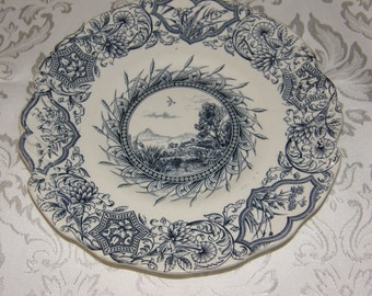 """W.H. Grindley & Co. Tunstall """"Ideal"""" Plate - Blue and White"""