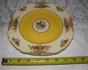 """Vintage Royal Ivory John Maddock & Sons plate 8"""" Yellow and Floral"""