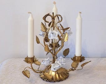 1940's ~ 3 Arm Gold Gilt Italian TOLE Candleholder w/ Porcelain Roses ~ Antique Shabby Chic Toleware ~ French Cottage Table Centerpiece