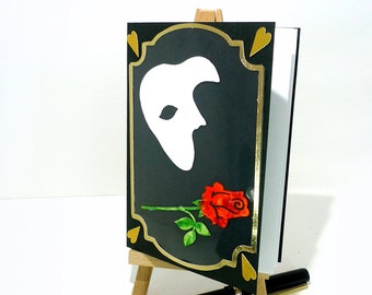 Phantom Of The Opera Unique Handmade Card Show Gift Musical Mask Red Rose Mcrtycards UK