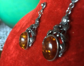 Sterling silver 925 Pendant earrings with synthetic amber cabochon. Mid-years ' 90, vintage