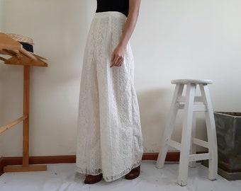 74de7d7c64 Cream Lace Pants Women Wide Leg Trousers High Waisted Pants Palazzo  Trousers Womens High Rise Pants Hippie Trousers Boho Pants Small 26
