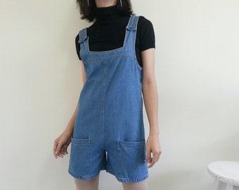 317df3cf9a Blue Denim Romper Vintage Denim Playsuit Women Jeans Romper Jeans Playsuit  Womens Romper Short Romper Jumpsuit Romper Retro Playsuit Small S