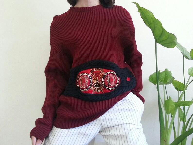 7e8fc95a409de GIANFRANCO FERRE Maroon Knit Sweater Vintage Sweater Women