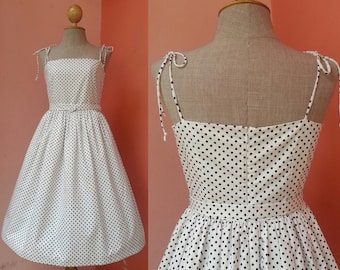 Polka Dot Dress Women 50s Dress Pin Up Dress Rockabilly Dress Swing Dress Day Dress Strap Dress Black White Dress Cotton Dress Size 4 Small
