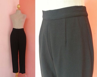 Black Trousers Women XS | Vintage Black Pants | High Waisted Trousers | Womens Wool Trousers | High Waisted Pants Black | 25.5 Waist