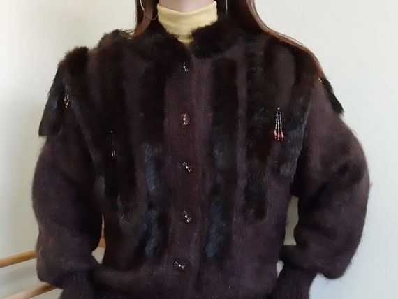 Vintage Real Fur Cardigan Coat Womens Knit Cardiga