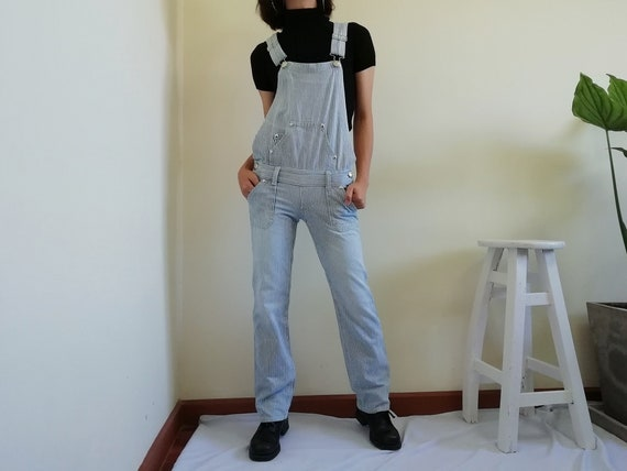 Vintage White Blue Striped Overalls Women Denim Ov