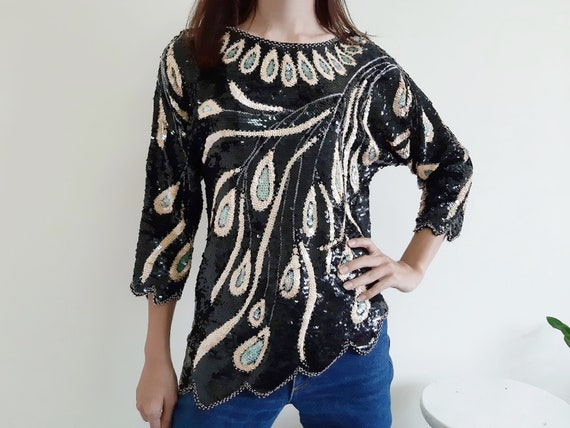 Vintage Black Sequin Top Womens Embroidered Blouse