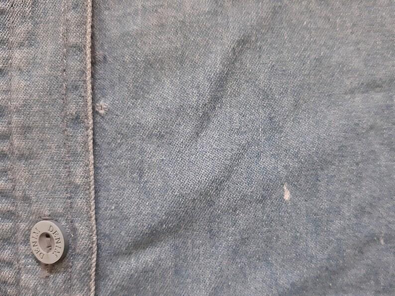 Vintage Blue Denim Shirt Women Jeans Shirt Embroidered Shirt Oversized Shirt Button Up Shirt Cotton Shirt Long Sleeve Blouse Large XL
