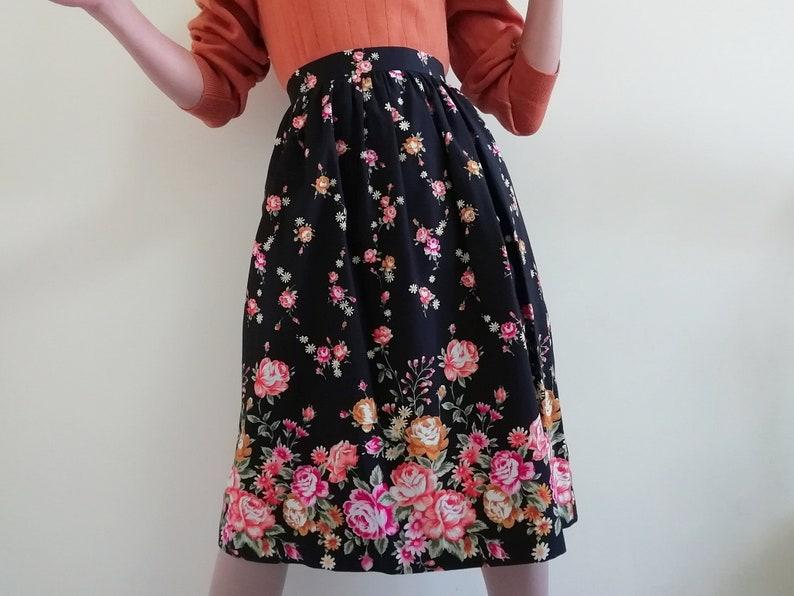 ae740bb5a Floral Midi Skirt Vintage Cotton Skirt Women Black Skirt | Etsy