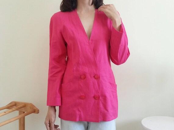 LOUIS FERAUD Vintage rosa Leinen Jacke Frauen Doppel Brust Jacke Kragenlose Jacke Womens Designer Jacke minimalistische Jacke kleine Medium