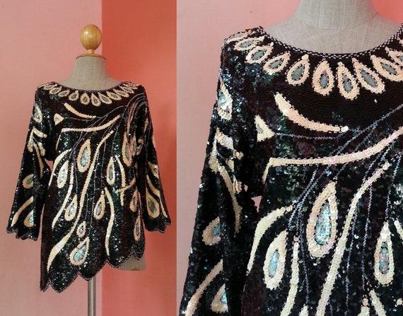 28ee5884d8d94 Peacock Black Sequin Top Medium Vintage Sequin Blouse Women